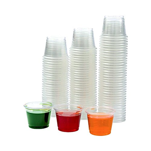 Adorox Clear Plastic Portion Cups with Lids Condiment Dips Sauce Jello Shots Souffle Disposable  1 oz 125 Cups