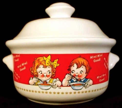 CAMPBELLS SOUP BOWL WITH LID AND HANDLES - 1998 EDITION