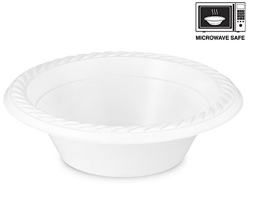 Basix 12 Ounce Disposable Bowls Microwave Safe 100 Count White