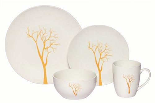Melange Coupe 16-Piece Porcelain Dinnerware Set Gold Tree  Service for 4  Microwave Dishwasher Oven Safe  Dinner Plate Salad Plate Soup Bowl Mug 4 Each