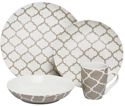 Melange Coupe 16-Piece Porcelain Dinnerware Set Grey Harmony  Service for 4  Microwave Dishwasher Oven Safe  Dinner Plate Salad Plate Soup Bowl Mug 4 Each