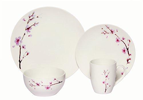 Melange Coupe 16-Piece Porcelain Dinnerware Set Pink Zen  Service for 4  Microwave Dishwasher Oven Safe  Dinner Plate Salad Plate Soup Bowl Mug 4 Each