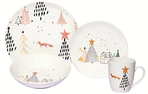 Melange Coupe 16-Piece Porcelain Dinnerware Set Winter Fox  Service for 4  Microwave Dishwasher Oven Safe  Dinner Plate Salad Plate Soup Bowl Mug 4 Each
