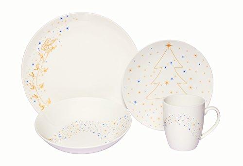 Melange Coupe 32-Piece Porcelain Dinnerware Set Golden Angels  Service for 8  Microwave Dishwasher Oven Safe  Dinner Plate Salad Plate Soup Bowl Mug 8 Each