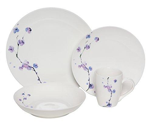 Melange Coupe 32-Piece Porcelain Dinnerware Set Purple Zen  Service for 8  Microwave Dishwasher Oven Safe  Dinner Plate Salad Plate Soup Bowl Mug 8 Each