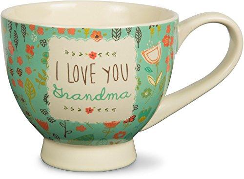 Pavilion Gift Company 54001 A Mothers Love-I Love You Grandma Floral Soup Bowl Mug Teal 17 oz