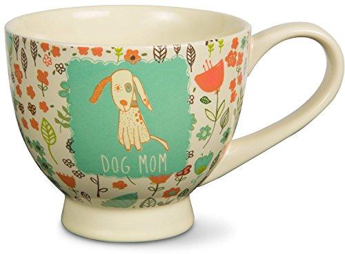 Pavilion Gift Company 54006 A Mothers Love-Dog Mom Floral Soup Bowl Mug Teal 17 oz