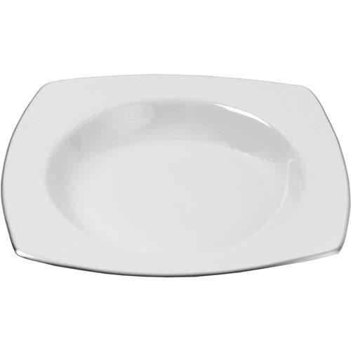 10 Strawberry Street Lotus Silver Line 9 Rim Soup Plates Set of 4 White
