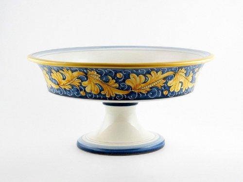 Hand Painted Italian Ceramic 118-inch Footed Fruit Bowl Rinascimento Blu e Giallo - Handmade in Gubbio Italy