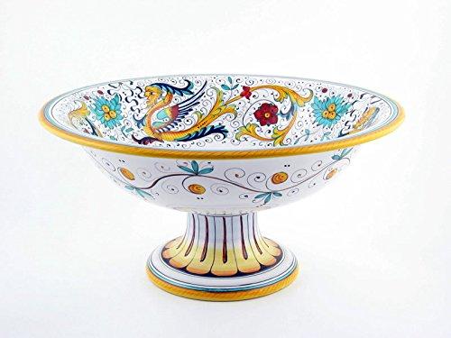 Hand Painted Italian Ceramic 12-inch Footed Fruit Bowl Raffaellesco - Handmade in Deruta