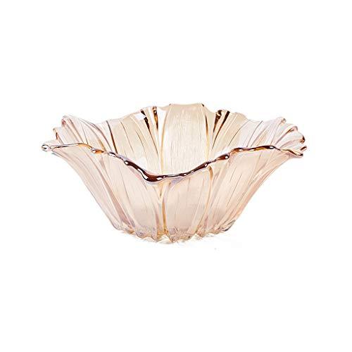 European Crystal Fruit Plate Petal Shape Fruit Basket Creative Fashion Home Large Glass Fruit Dish Personality Modern Minimalist Living Room Fruit Bowl Color  Amber Size  S