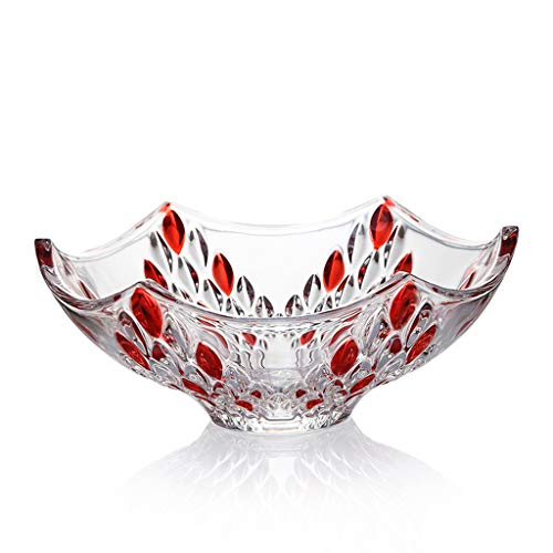 Fruit plate fruit bucket large crystal glass transparent creative fruit plate living room candy dish dried fruit plate snack plate red pattern LCSHAN