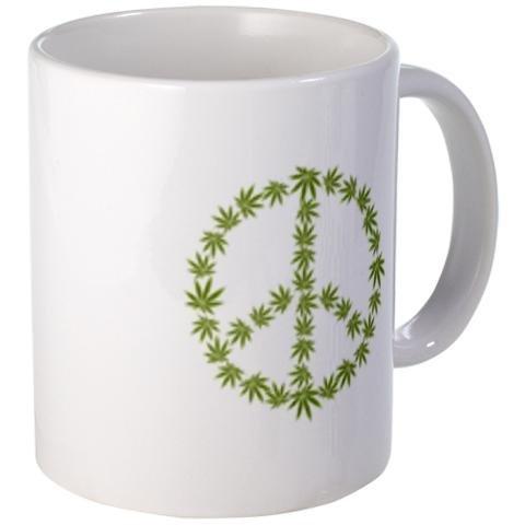 POT LEAF Peace Sign Symbol 420 Marijuana 11oz Ceramic Coffee Cup Mug