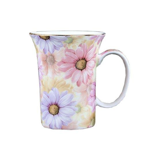 ufengkeÂCreative Cute European England Royal Luxury Bone China Tea Cup Ceramic Coffee Cup Mugs-Pink And Blue Chrysanthemum Flower