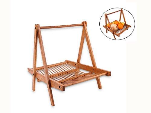 """Fruit BasketJaminer Collapsible Bamboo Basket for Fruit and Vegetable Basket Bread Basket Snack Basket Cosmetic Storage Basket with Handle 12"""" x 11"""" x 9""""Hanging Basket"""