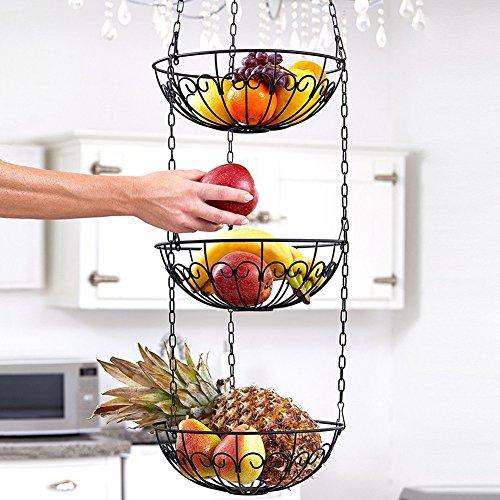 Najer 3-Tier Wire Hanging Basket Fruit Vegetable Basket Kitchen Storage Basket Black