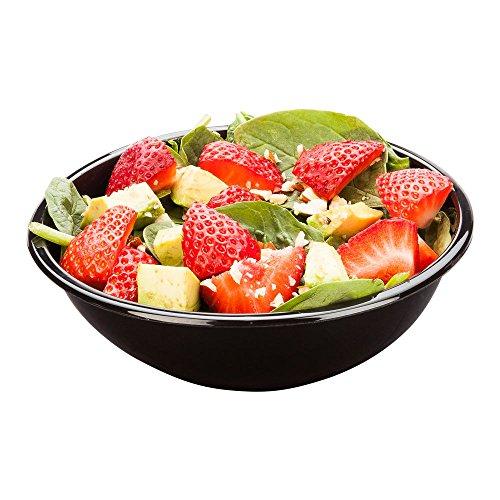 Cold Salad Bowl - PET Plastic Salad Bowl - Black - 176 oz - Durable Recyclable - 200ct Box - Restaurantware