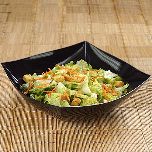 Efavormart 12 Pcs - Black Square 4qt Disposable Plastic Serving Bowl for Catered Events Weddings Parties Banquets