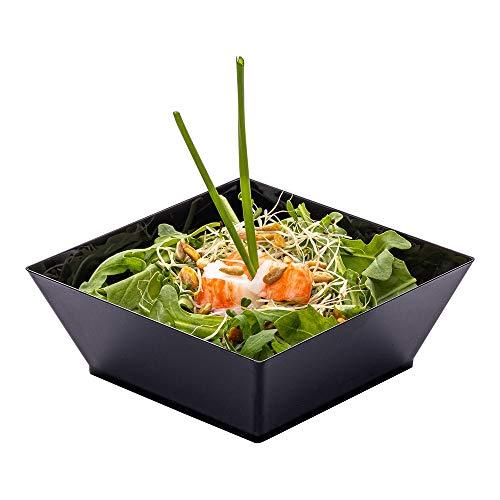 Modern Square Bowl Plastic Square Bowl - Small - 43 Inch 10 Ounce - Black - Plastic - Disposable - 100ct Box - Restaurantware