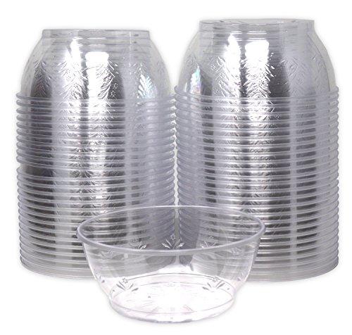 Hard Clear Plastic Dessert Bowls 6 Ounce Bulk 100 Pack Premium Quality