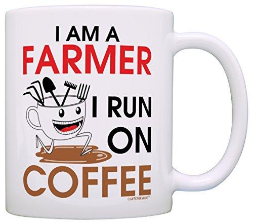 Coffee Lover Gift I am a Farmer I Run on Coffee Dad Gift Grandpa Gift Coffee Mug Tea Cup White