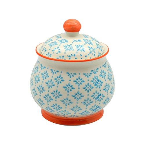 Patterned Sugar Bowl  Pot with Lid - Blue  Orange