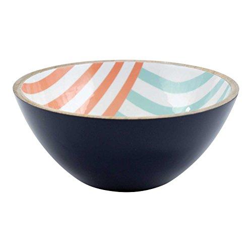 FLOOR  9 Mango Wood Bowl Aqua and Orange Stripe Large