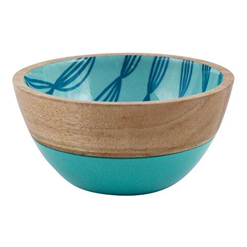 FLOOR  9 Mango Wood Bowl Blue Pattern Small