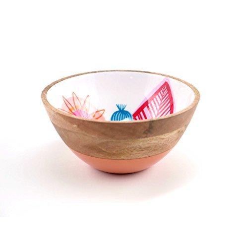 FLOOR  9 Mango wood Bowl with Multi Leaf Pattern Medium