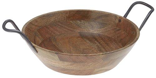 Thirstystone N316 Urban Farm Mango Wood Bowl Metal Handles Brown