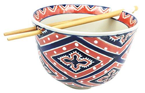 Japanese Design Diamond Motif Contrast Ceramic Ramen Udong Noodle Soup Bowl and Chopsticks Set Great Gift For College Students Housewarming Ramen Lovers Asian Living Home Decor