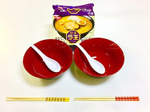 JapanStyle Japanese Ramen Donburi Bowl dia 183cm 82g Black x Vermilion  x 2pcsRenge Ramen Spoon x 2pcsChopsticks x 2 setsRaoh Tonkotsu Shoyu Porkbone Soy Sauce 5pcs Ready-for-Ramen Package TS