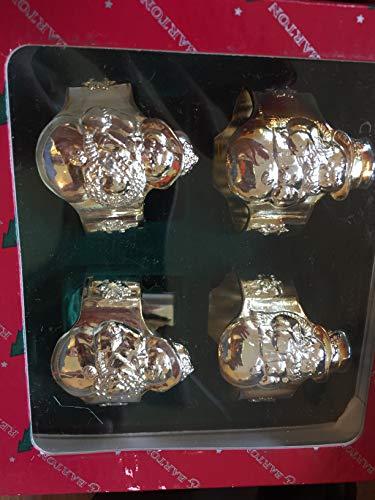 B&R Reed Barton SilverGold Tone Snowman Napkin Ring Set