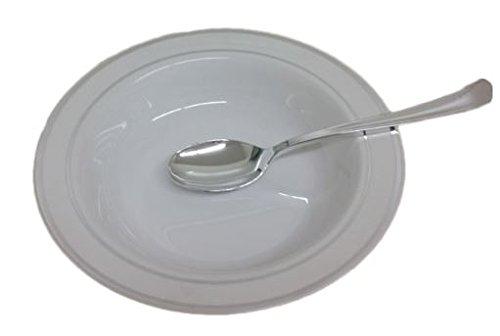 15 Disposable White Soup Bowls With Silver Rim 12 Oz Elegant Plastic Soup Plates