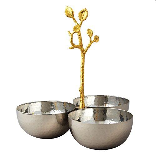 Elegance Golden Vine Hammered Triple Bowl SilverGold