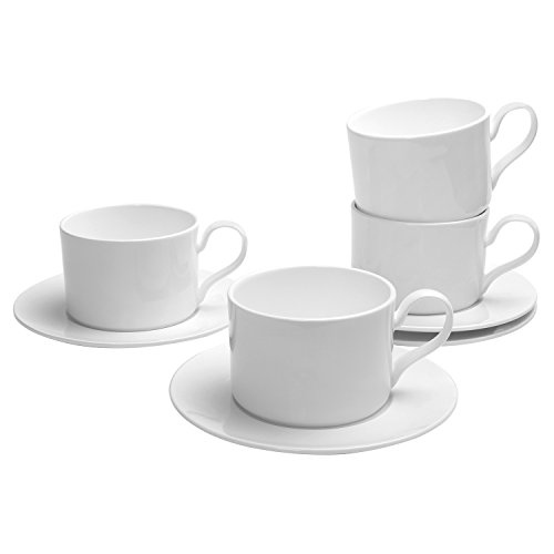 Pomelo Best Porcelain Espresso Cups and Saucers 200 ML  67-Ounce Pearl White Set of 4