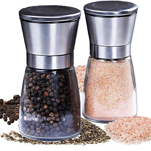 Salt And Pepper Grinder Set-brushed Stainless Steel Salt And Pepper Grinders- Adjustable Coarseness And Elegant