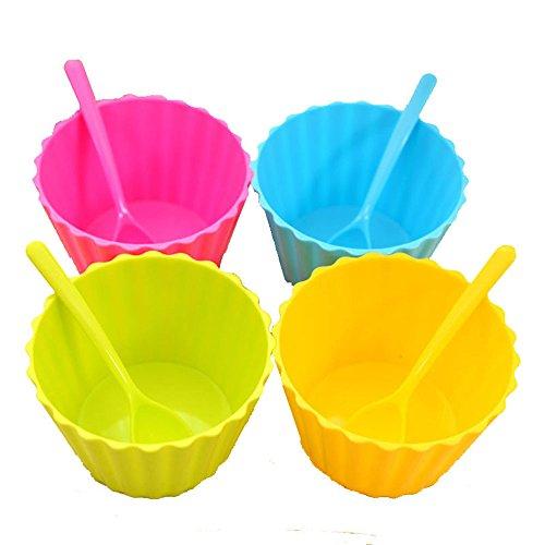 4pcs Vibrant Colors Ice Cream Dessert Bowls and Spoons