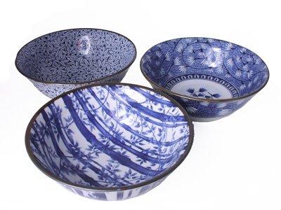 8 Inch Blue and White Cherry Blossom Karakusa Japanese Noodle Bowl Set of Three