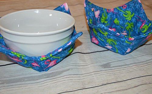 Fabric Set of Two Flamingo Palm Tree Blue Bowl Cozies