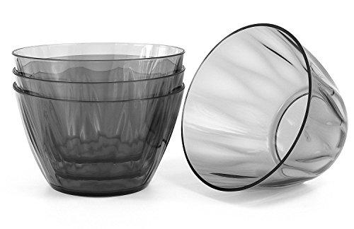 Kreate Acrylic Bowls - Set of 4 - Reusable Break-Resistant Plastic - 6 Diameter
