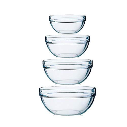 LINONIL 4 Pieces Food Grade Acrylic Bowl Set Non Slip Nesting Bowls