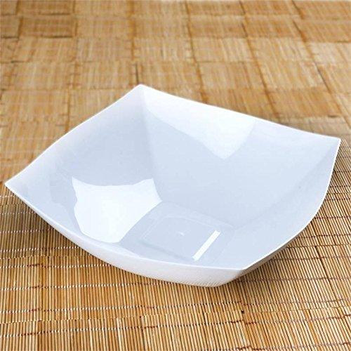 Efavormart 12 Pcs - White Square 4qt Disposable Plastic Serving Bowl