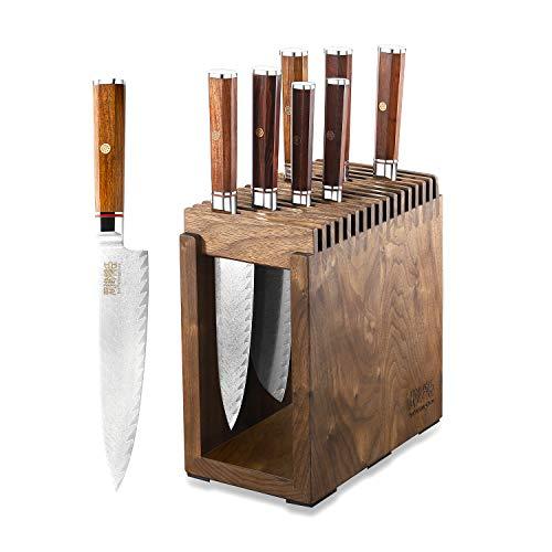 Kitchen Knives Set,8-Piece Knife Block Set, Japanese AUSVG10 Super Steel 67-Layers Damascus-Hand Forged G10 Rosewood Handle Chef Knife Set With Black Walnut Block Cutlery Block Set