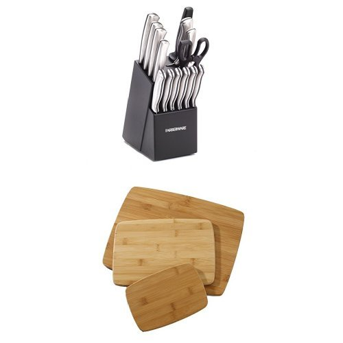 Farberware 15-Piece Stamped Stainless-Steel Cutlery Set and Classic 3-Piece Bamboo Cutting Board Set Bundle