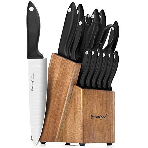 Knife Set 15-Piece Kitchen Knife Set with Sharpener Wooden Block and Serrated Steak KnivesEmojoy Germany High Carbon Stainless Steel Knife Block Set