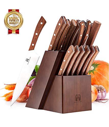 Vestaware Knife Set 16-Piece Chef Knife Set with Knife Sharpener Stainless Steel Kitchen Knives Set with Wooden Block 6 Steak Knives and Bonus Scissors