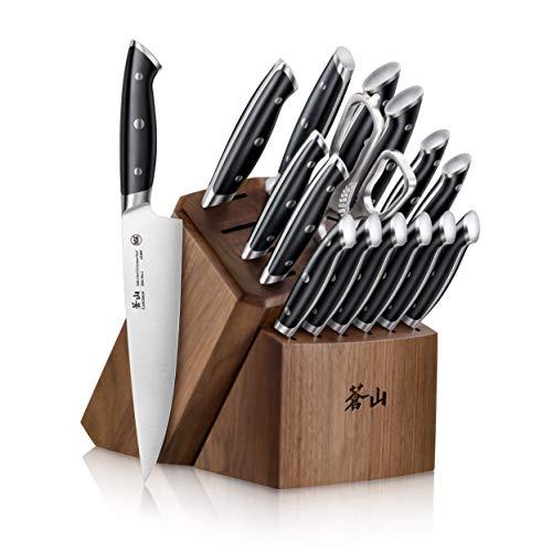 Cangshan Z Series 1024180 German Steel Forged 17-Piece Knife Block Set Walnut