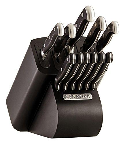 Sabatier Self-Sharpening Edgekeeper Pro 12-Piece Forged Triple Rivet Knife Block Set Black - 5192297