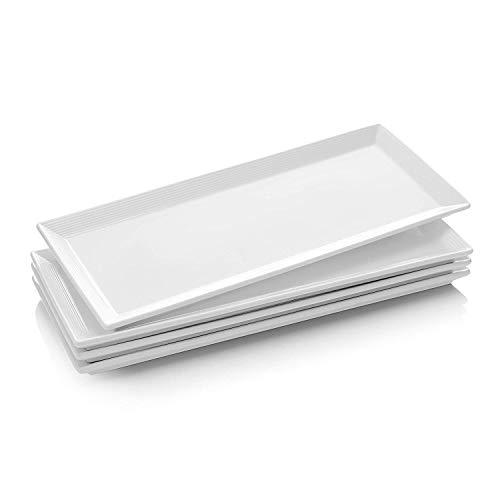 DOWAN 145 Inch Porcelain Serving Platters Rectangular Plates 4 Packs Natural White